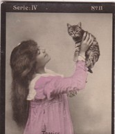 TERRISS AVEC CHAT. HABANILLOS LA PLATA. COLORISE. CARD TARJETA COLECCIONABLE TABACO. CIRCA 1915 SIZE 4.5x5.5cm - BLEUP - Célébrités