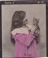 TERRISS AVEC CHAT. HABANILLOS LA PLATA. COLORISE. CARD TARJETA COLECCIONABLE TABACO. CIRCA 1915 SIZE 4.5x5.5cm - BLEUP - Famous People