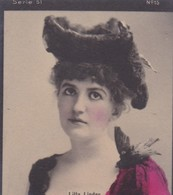 LILLA LINDER. CARD TARJETA TABACO TABAK TOBACCO. CIRCA 1915 SIZE 4.5x5.5cm - BLEUP - Berühmtheiten