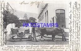 110263 PORTUGAL MADEIRA FUNCHAL STREET OF THEATER COSTUMES CARRO DE BOIS CIRCULATED TO URUGUAY POSTAL POSTCARD - Non Classés