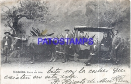 110264 PORTUGAL MADEIRA FUNCHAL COSTUMES CARRO DE BOIS CIRCULATED TO URUGUAY POSTAL POSTCARD - Non Classés