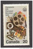 Canada, 1976, #685, Jeux Olympiques De Montréal, Olympic Games, Cinéma, Peinture, Communication, Painting - Sommer 1976: Montreal