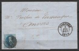 L. Affr. N°11A P108 Càd SOIGNIES /3 FEV 1860 Pour ANVERS (au Dos: Càd Arrivée ANVERS) - 1858-1862 Médaillons (9/12)