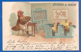 Fantaisie; Ostern; Christos, Cristos A Inviat; Küken; Henne; 1901 Stempel Craiova - Ostern