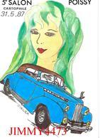 CPM - POISSY 78 Yvelines - 5 ème SALON DE LA CARTE POSTALE 1987 - Edit. SIZI L'Escargot N° 35 / 300 - Scans Recto-Verso - Collector Fairs & Bourses