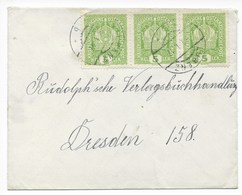 ÖSTERREICH - BRIEF  MIT  3x Mi Nr. 186  VON  LUBENZ (LUBENEC)  NACH  DRESDEN    1917 - 1850-1918 Empire