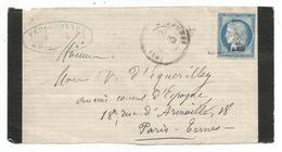Devant De Lettre Marennes Pour Paris - Vers 1871 - Marcophilie (Lettres)