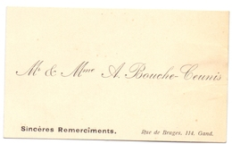 Visitekaartje - Carte Visite - Mr & Mme A. Bouché - Ceunis - Gand - Cartes De Visite