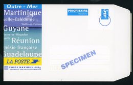 FRANCE -  ENTIER POSTAL OUTRE-MER 100g - TVP BLEU MARIANNE DE BRIAT  SPECIMEN NEUF (format 16x23 Cm, Carton) - Entiers Postaux