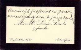 Visitekaartje - Carte Visite - Mr & Mw Louis Smets - Antwerpen - Cartes De Visite