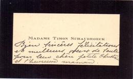 Visitekaartje - Carte Visite - Madame Timon Schaubroeck - Cartes De Visite
