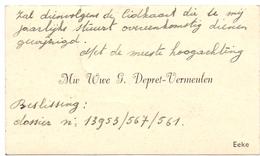 Visitekaartje - Carte Visite -Mw.Wwe G. Depret - Vermeulen - Eke - Cartes De Visite