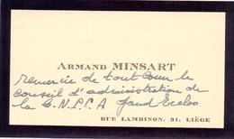 Visitekaartje - Carte Visite - Armand Minsart - Liège - Cartes De Visite