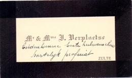 Visitekaartje - Carte Visite - Mr & Mme Verplaetse - Zulte - Cartes De Visite