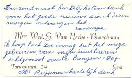 Visitekaartje - Carte Visite - Mevr. Wed. G. Van Hecke - Braeckman - Gent - Cartes De Visite