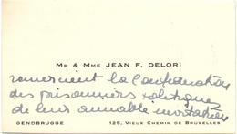 Visitekaartje - Carte Visite - Mr & Mme Jean F. Delori - Bruxelles - Cartes De Visite