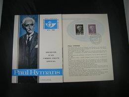 "BELG.1965 1321 FDC Folder Fr.  : "" Paul Hymans   "" - FDC"