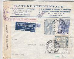 Grèce - Lettre De 1949 ° - Oblit Thessaloniki - Exp Vers Düsseldorf - Avec Bande De Contrôle - Idées Européennes - Grèce