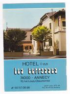 74 Annecy Hôtel Les Terrasses 15 Rue Louis Chaumontel En 1981 Tampon De L'Hôtel Au Dos - Annecy