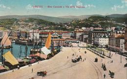 Riva Carciotti E Via Della Stazione, Trieste, Italia, Anni. 1910, Animata, Viaggiata - Trieste