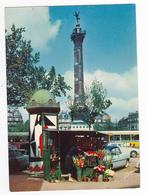 75 Paris Place De La Bastille Colonne De Juillet Pub St Raphaël Quinquina BUS Simca Ariane Marchande De Fleurs - Places, Squares