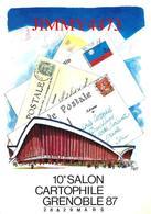 CPM - GRENOLE 38 Isère - 10è SALON CARTOPHILE Mars 1987 - Carte Numérotée - Illust. Raymond  Pagès - Scans Recto-Verso - Bourses & Salons De Collections