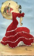 SPAIN - Silk Untitled Youn Dancing Lady - Bull Fightng Poster In The Background - Fantasia
