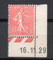 - FRANCE Variété N° 199k Neuf ** - 50 C. Rouge Semeuse Lignée 1929 - PAPIER CARTON BORD DE FEUILLE - Cote 27 EUR - - Varieties: 1921-30 Mint/hinged