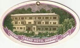 Teheran - Grand Hotel Darband - Iran - Etiquettes D'hotels