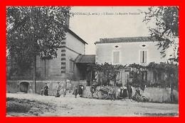 CPA (47) DOUDRAC.  L'école Et La Recette Buraliste, Animé, Vélo, Charette...D432 - France