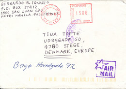 Philippines Cover With Meter Cancel Greenhills Post Office 3-12-1999 Sent Air Mail To Denmark - Philippines