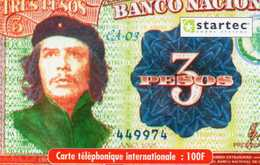 CARTE PREPAYEE CHE GUEVARA - Billet Cubain 3 Pesos - Rare - Luxe - Francia
