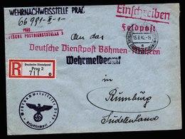 A6079) Böhmen & Mähren R-Dienstpostbrief Prag 15.08.42 N. Rumburg - Böhmen Und Mähren