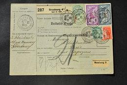 France - 1927 : Blanc 111 - Semeuse 194 - Merson 123 Et 240 Sur Bulletin D'expédition De Colis D'Alsace Lorraine - Colis Postaux
