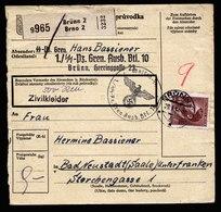 A6081) Böhmen & Mähren Paketkarte Brünn 29.01.44 EF Mi.105 Seltener Absender - Böhmen Und Mähren