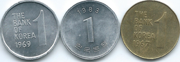 South Korea - 1 Won - 1967 (KM4) 1969 (KM4a) & 1983 (KM31) - Korea (Zuid)