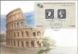 ITALIA 1985: ESPOSIZIONE MONDIALE DI FILATELIA (con No.1 Di Sardegna é Inghilterra) FDC Con O ROMA 25.10.1985 - Francobolli Su Francobolli