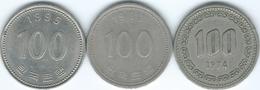 South Korea - 100 Won - 1974 (KM9) 1983 (KM35.1) & 1995 (KM35.2) - Korea (Zuid)