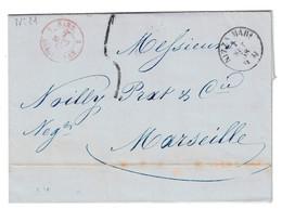 1858 - LETTRE LAC Avec MARQUE D'ENTRÉE CAD ROUGE SARD. SARDAIGNE DRAGUIGNAN CACHET NICE NIZZA MARE TAXE SARDE MARSEILLE - Marcophilie (Lettres)