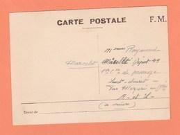 CARTE POSTALE EN FRANCHISE MILITAIRE - Marcophilie (Lettres)