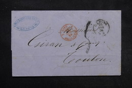 """FRANCE - Cachet D 'entrée """"  Sard. 2 Draguignan """" En 1856 En Rouge Sur Lettre De Genova Pour Toulon - L 27893 - Entry Postmarks"""