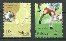 POLAND MNH ** 3743-3744 COUPE DU MONDE FOOTBALL COREE DU NORD 2002 BALLON CARTE ASIE - 1944-.... Repubblica