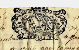 1736 SUR PARCHEMIN CACHET GENERALITE LORRAINE BARROIS 10 SOLS B.E. VOIR SCANS - Historical Documents