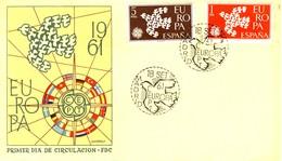 1961 - SPAGNA - EUROPA 2v. - BUSTA FDC. - FDC