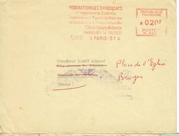 EMA SYNDICAT FNIH HOTELIERS RESTAURATEURS PARIS 123  27 OCT  50 MACHINE K 0473 - Poststempel (Briefe)