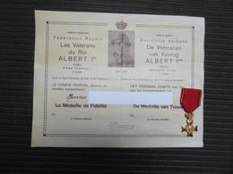 Véterans Du Roi Albert Médaille Et Diplôme - 1914-18