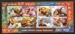 India 2014 Indian Musicians Musical Instrument Singer Art M/s MNH Inde Indien - Music