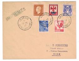 1947 - OBLITÉRATION Du 1er JOUR DU RATTACHEMENT De LA BRIGUE À LA FRANCE 16-9-47 Sur LETTRE (NON-FERMÉE) IMPRIMÉS - Marcophilie (Lettres)