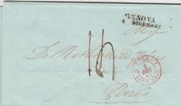 Suisse Lettre Genova + Cachet D'entrée En France Sard/Pont De B. 1842 - Switzerland