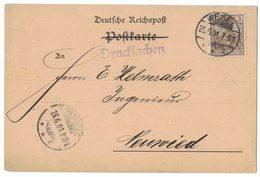 YN622   Dt. Reich 1901 Drucksachen Wesel To Neuwied  Mi.54a - Deutschland